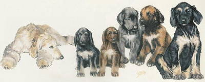 Puppies Mixed Media - Afghan Hound Puppies by Barbara Keith