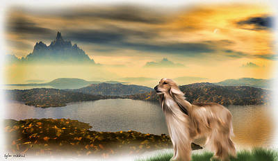 Art Print featuring the painting Afghan Hound by Tyler Robbins