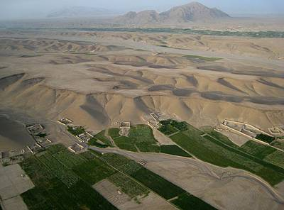 Afghan Village From The Air In Helmand Province Art Print