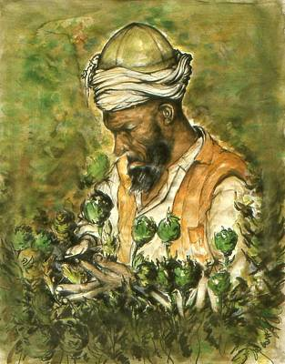 Painting - Afghani Harvest - Watercolor by Art America Gallery Peter Potter