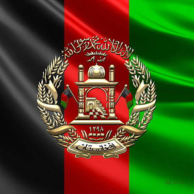 Digital Art - Afghanistan National Emblem Over Flag by Serge Averbukh