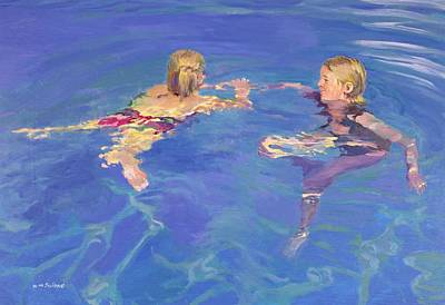 Children Playing Photograph - Afloat, 2005 Oil On Board by William Ireland