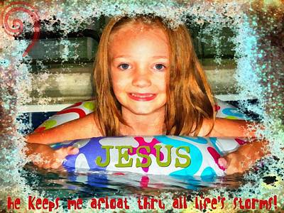 Smiling Jesus Digital Art - Afloat by Michelle Greene Wheeler