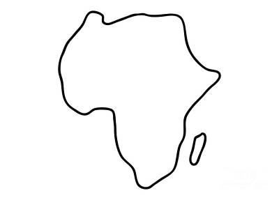 Sketches Map Drawing - Africa African Continent Map by Lineamentum