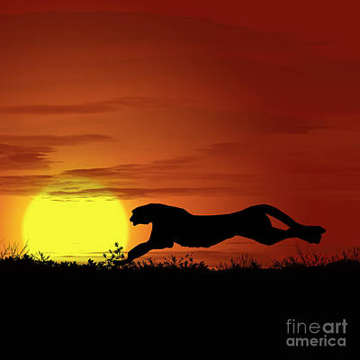 Golden Leopard Digital Art - Africa Cheetah Sunset by Ludek Sagi Lukac