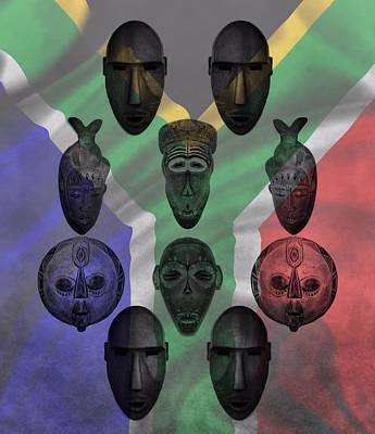 Archaeology Mixed Media - Africa Flag And Tribal Masks by Dan Sproul