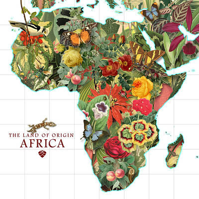 Digital Art - Africa Flower Map by Gary Grayson