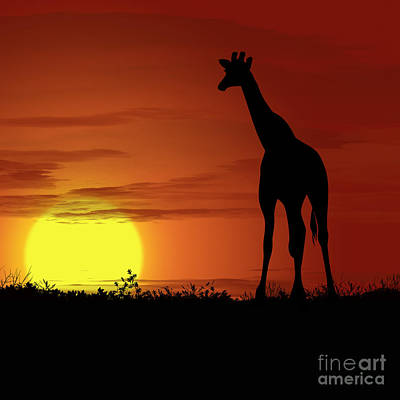 Golden Leopard Digital Art - Africa Giraffe Sunset by Ludek Sagi Lukac