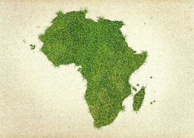 Africa Grass Map Art Print by Aged Pixel