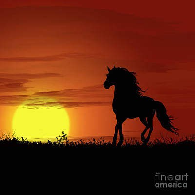 Park Scene Digital Art - Africa Horse Sunset by Ludek Sagi Lukac