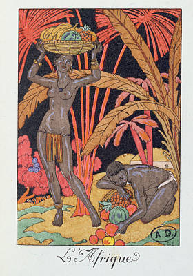 Women Together Painting - 'africa' Illustration For A Calendar For 1921 by Georges Barbier