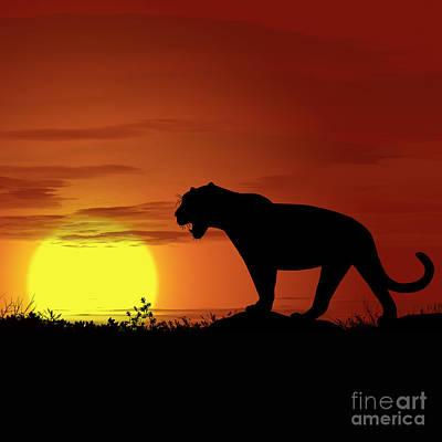 Golden Leopard Digital Art - Africa Leopard Sunset by Ludek Sagi Lukac