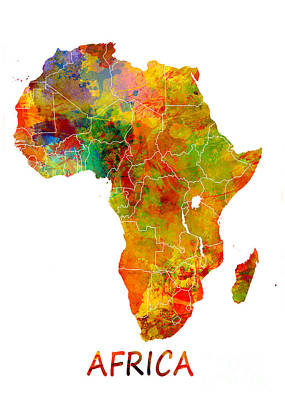 Map Digital Art - Africa Map Colored by Justyna JBJart