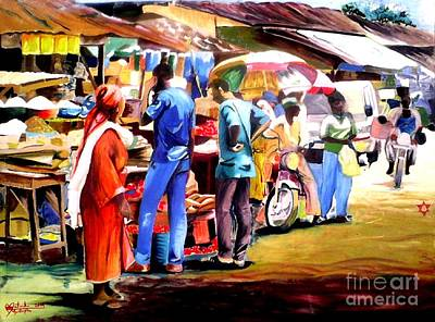 Landscape-like Art Painting - Africa Market Scene by Moscolexy Moscolexy