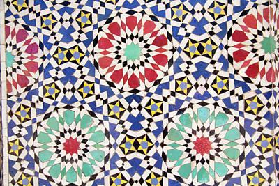 Fez Photograph - Africa, Morocco, Fes, Fes Medina, Tiles by Emily Wilson