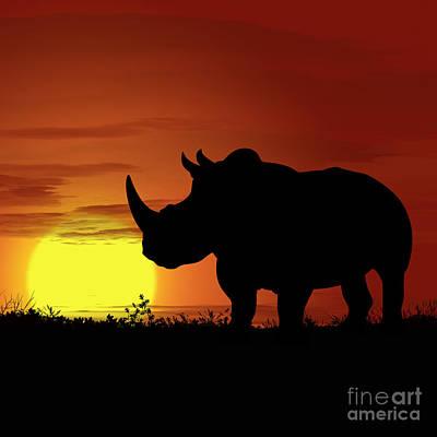 Golden Leopard Digital Art - Africa Rhino Sunset by Ludek Sagi Lukac