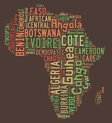 Typography Map Painting - Africa Typography Map All Countries by Florian Rodarte