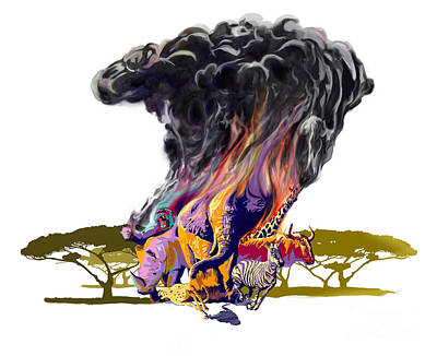 Gorillas Digital Art - Africa Up In Smoke by Sassan Filsoof