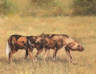 Wolves Painting - Africa Wild Dogs by David Stribbling