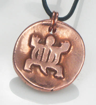 Jewelry - African Adinkra Denkyem Copper Crocodile Talisman - Symbol For Adaptibility by Vagabond Folk Art - Virginia Vivier