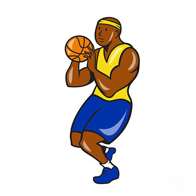 African-american Digital Art - African-american Basketball Player Shoot Ball Cartoon  by Aloysius Patrimonio