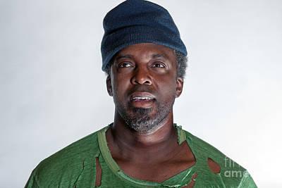 Photograph - African American Homeless Man by Gunter Nezhoda