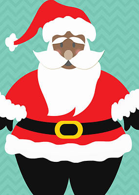 Digital Art - African American Santa Claus by Linda Woods