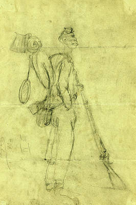 Chinese American Drawing - African American Soldier, Between 1862 And 1865 by Quint Lox