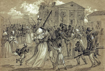 Town Square Drawing - African American Soldiers Return Home From War - 1866 by Daniel Hagerman