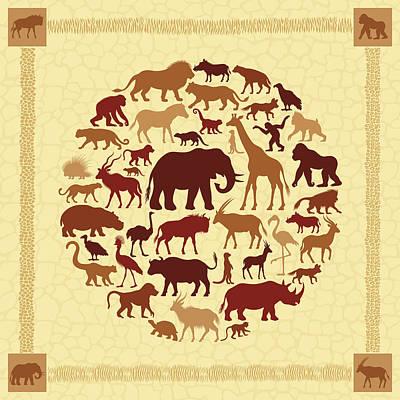 Digital Art - African Animals Collage by Alonzodesign