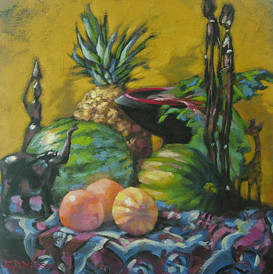 African Fabric Painting - African Artifacts by Gloria  Nilsson
