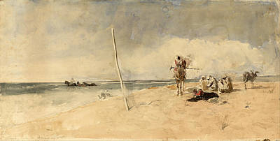 Seacoast Drawing - African Beach by Maria Fortuny