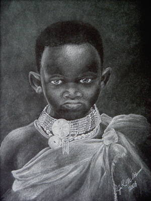Art Print featuring the drawing African Boy by James McAdams