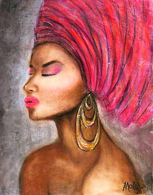 African Woman Painting - African Bride With Gele. by Mbwidiffu Malgwi
