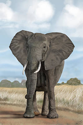 Digital Art - African Elephant by Nigel Follett