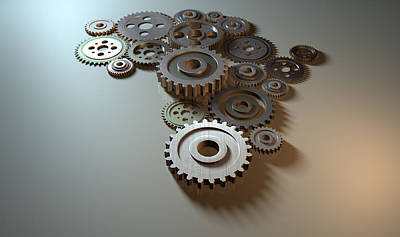 African Cogwheel Machine Art Print by Allan Swart