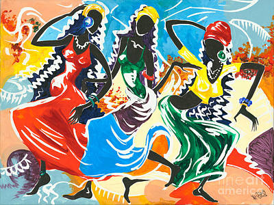 African Traditional Dances Painting - African Dancers No. 2 by Elisabeta Hermann