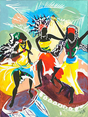 African Traditional Dances Painting - African Dancers No. 4 by Elisabeta Hermann