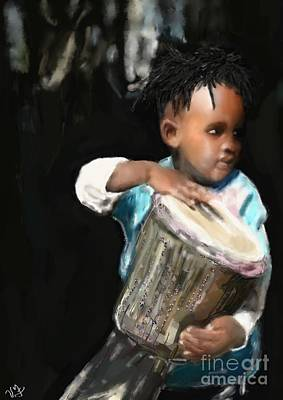 Art Print featuring the painting African Drummer Boy by Vannetta Ferguson