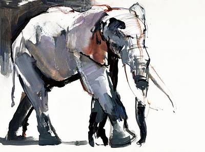 African Elephant, 2012, Mixed Media On Paper Print by Mark Adlington