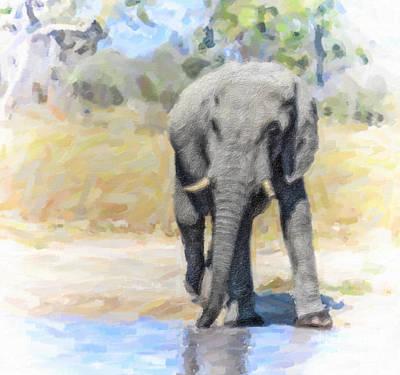 Safari Digital Art - African Elephant At Waterhole by Liz Leyden