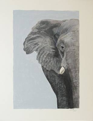 Black Tusk Painting - African Elephant by Connie Campbell Rosenthal
