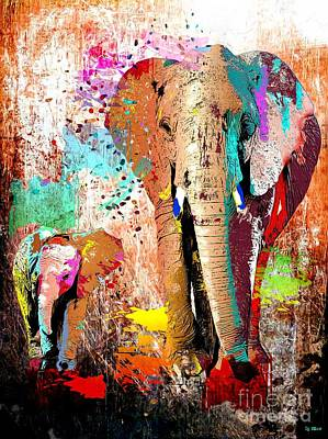 Abstract Mother And Child Painting - African Elephant Family by Daniel Janda