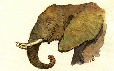 African Elephant Head Print by Juan  Bosco