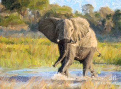 Elephant Digital Art - African Elephant In Lagoon Okavango Delta by Liz Leyden