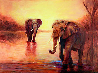Painting - African Elephants At Sunset In The Serengeti by Sher Nasser