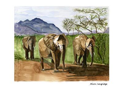 Painting - African Elephants Of Kenya by Alison Langridge