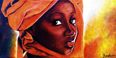 Ethiopian Woman Painting - African Fire by Yashar Akzar