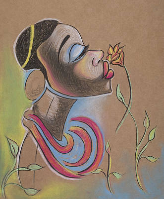 Drawing - African Girl by Chibuzor Ejims