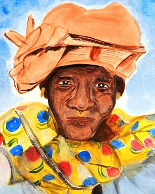 Painting - African Grandmother by Jutta B